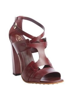 Tod'smaroon strappy leather heel sandals