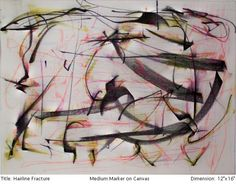 """Title: Hairline Fracture  Medium: Marker on Canvas 16"""" x 12' $475"""