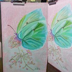 Mariposa, Verde que te quiero verde. Pastel 50x35.