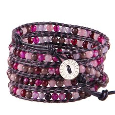 Kelitch Fashion 5 Wrap Bracelet Jade & Agate Beads Bangle Chain Leather Jewelry #Kelitch #Beadedcharm