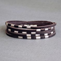 Wrap Leather Bracelet for Men / Women with by SivaniAccessories
