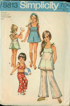 Retro Sewing Vintage Bathing Suit Swimsuit Bell Bottoms Pants Sewing Pattern Simplicity 8813 Girls RETRO Pattern Size 8 UNCUT by sandritocat on Etsy - Simplicity Child's and Girls' Bathing-Suit and Bell-Bottom Pants: The bell-bottom pants V. Childrens Sewing Patterns, Simplicity Sewing Patterns, Vintage Sewing Patterns, Retro Mode, Mode Vintage, Retro Vintage, Vintage Girls, Bell Bottom Pants, Bell Bottoms