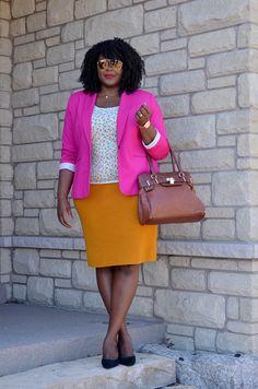 Mustard, pink, cognac accents