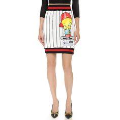 Moschino Sport Tweety Miniskirt (€695) ❤ liked on Polyvore featuring skirts, mini skirts, multi, white skirt, striped skirt, striped mini skirt, mini skirt and striped short skirt