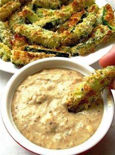 baked zucchini sticks & sweet onion dip.  on it.