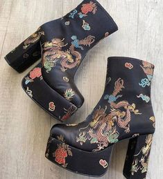 Current Mood - Spittin' Fiyah Brocade Boots - #shoes #boots #alternative