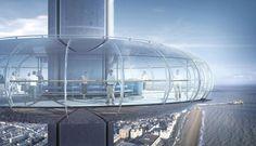 Projeto mostra como deve ficar a maior torre de observação móvel do mundo, batizada de i360 (Foto: Poma/Divulgação)