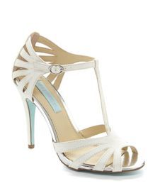 These come in a few different colors. Not sure if I want ivory of the sparkly champagne. Yay for affordable bridal shoes! Blue by Betsey Johnson Tee Dress Sandals Wedding Shoes Heels, Bridal Shoes, Danse Salsa, Salsa Shoes, Blue By Betsey Johnson, T Strap Shoes, Shoe Show, Party Shoes, Peep Toe Pumps