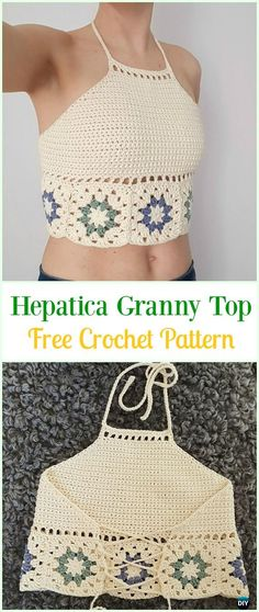 "diy_crafts- Crochet Hepatica Granny Top Free Pattern-Crochet Summer Halter Top Free Patterns ""Come chiudere un top"", ""Overview of Crochet So Crochet Summer Tops, Crochet Halter Tops, Easy Crochet, Free Crochet, Crochet Bikini Top, Summer Knitting, Baby Knitting, Gilet Crochet, Crochet Shirt"