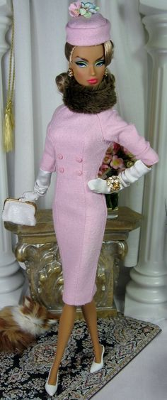 Love the dress & pillbox hat ... I would eliminate the flowers, and, maybe, the fur neck piece. The dress is wonderful!