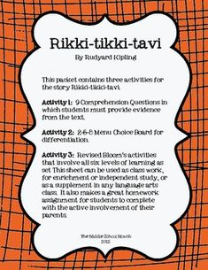 Printables Rikki Tikki Tavi Worksheets rikki tikki tavi activities the ojays and story