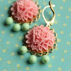 Audrey Earrings  Pink & Mint Green  Brass by HandmadeShoppe, $20.00