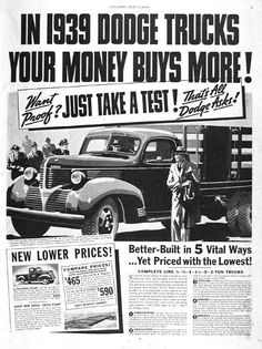 1939 Dodge Trucks vintage ad. Features the 1 1/2 ton Stake model with 9 ft. body ($780) and the 1/2 ton Pickup ($590).