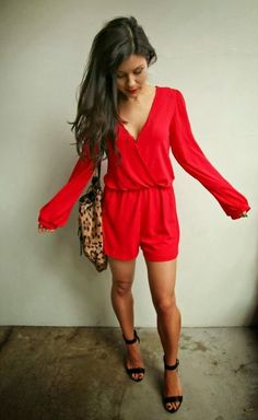 Red Jumper ..and with leopard bag..Adorable!