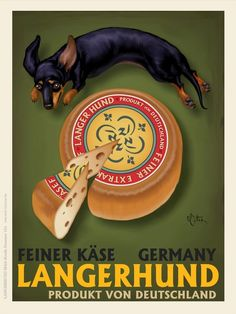 """""""Langerhund Feiner Kase"""" by Chad Otis, Seattle // Dachshund with German Cheese // Imagekind.com -- Buy stunning, museum-quality fine art prints, framed prints, and canvas prints directly from independent working artists and photographers."""