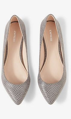 SNAKESKIN PRINT POINTED TOE FLAT | Express