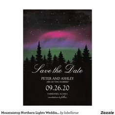 Mountaintop Northern Lights Wedding Save the Date