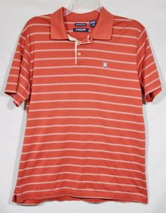 CHAPS GOLF Mens Orange Striped Polo Shirt Large 100% Cotton Short Sleeves Summer #Chaps #PoloRugby