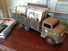Repurposing Old Car Toys | Old army truck toy CD holder in my media room. | Our Farm - Family, B ...