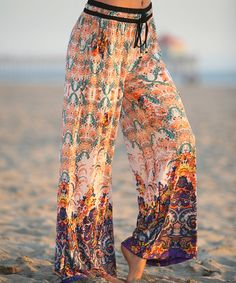 Loving this White & Peach Abstract Palazzo Pants on #zulily! #zulilyfinds