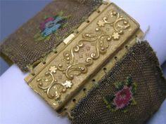 Wide Antique Victorian Pinchbeck Mesh Petit Point Bangle Bracelet RARE | eBay