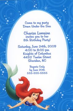 Ariel - The Little Mermaid Party Invitations, Little Mermaid Birthday, Little Mermaid Parties, The Little Mermaid, 4th Birthday Parties, Birthday Ideas, Girl Parties, 3rd Birthday, Mermaid Party Invitations, Disney Invitations