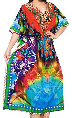 Womens Casual Dress Caftan MAXI Loose Dress Digital Multi DRT098 US 14  28W ** Continue to the product at the image link-affiliate link.