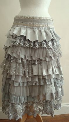 Layered Ruffles Upcycled Skirt Woman's Clothing by BabaYagaFashion       Sophia would love this. In pink.