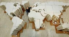 World Map made from 2000 layers of cloth by Chinese artist Ai Weiwei