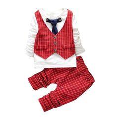 Sannysis Jungen Outfit Kleidung Weste Krawatte Hemd Tops Karo + Lange Hosen Hosen 1-5Y (90/1-2Y, Rot)