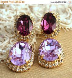 Purple Chandelier earrings, Purple violet lilac Crystal chandelier earrings - Gold plated earrings real swarovski rhinestones, Halo earrings