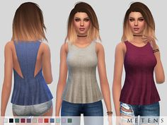 Sleeveless | scoop neck | back cut out details | loose fit Found in TSR Category 'Sims 4 Female Everyday'