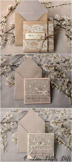 Vintage peach lace wedding invitations