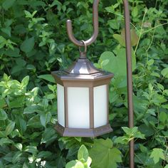 Solar Lantern With Shepherds Hook Frosted Glass #freeshipping Safe and clean candlelight illumination with no wiring!  Constructed of die-cast al...