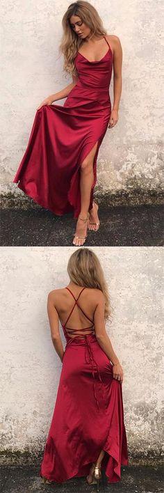 Custom Made Enticing Evening Dress Long Charming Burgundy Halter Side Slit Long Long Evening Prom Dresses Straps Prom Dresses, Prom Dresses 2018, Backless Prom Dresses, Cheap Prom Dresses, Trendy Dresses, Sexy Dresses, Party Dresses, Long Dresses, Ball Dresses