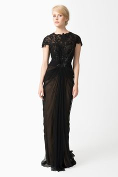Tadashi Shoji Paillette Lace and Tulle Gown in Black / Nude