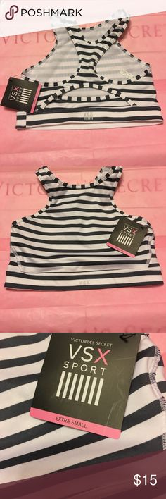 Victoria's Secret sports bra Brand new with tags Victoria's Secret sports bra size xsmall. High neck style with no padding or underwire. Just has light mesh lining. The back has a semi circle shaped cutout. Comes from a smoke free home. If you have any questions or need more pictures please ask! Victoria's Secret Intimates & Sleepwear Bras