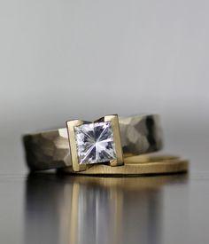 moissanite modern engagement ring, square cut diamond or moissanite, unique…