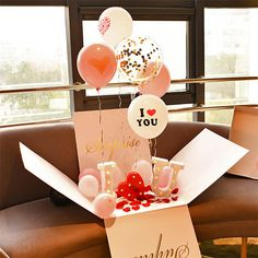 The contents of the Surprise Balloon Box will arrive loose-packed. Please inflate the balloons, assemble all t Birthday Surprise For Husband, Surprise Box Gift, Cadeau Surprise, Cute Birthday Gift, Diy Gift Box, Birthday Box, Personalized Birthday Gifts, Surprise Ideas, Valentines Surprise