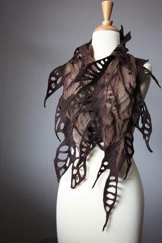 Nuno felted fashion scarf in Chocolate woman silk wool spr… Nuno Felt Scarf, Felted Scarf, Body Adornment, Nuno Felting, Needle Felting, Silk Wool, Fabric Manipulation, Felt Art, Wool Felt