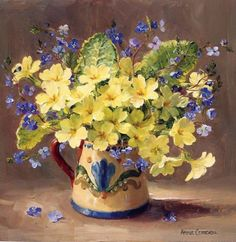 Gallery.ru / Фото #40 - Anne Cotterill -Primroses and Forget-me-nots  angry-firefly