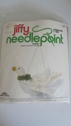 Jiffy Dove Needlepoint Kit Christmas Ornament Sunset Designs Vtg. 1980 OPEN #SunsetDesigns