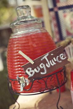 Bug juice - (Also gummy worms/fishing) Creative Party Ideas by Cheryl: Girls Camping Party First Birthday Parties, Birthday Party Themes, First Birthdays, Birthday Ideas, 10th Birthday, Themed Parties, First Birthday Camping Theme, Bonfire Birthday, Birthday Sweets