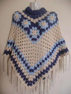 Ponchos tejidos en crochet - Imagui