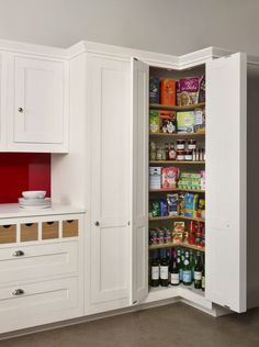 Kitchen Floor Plan with Corner Pantry. Kitchen Floor Plan with Corner Pantry. Corner Pantry Made Of to Look Like Cabinets Yes Corner Cabinet Solutions, Corner Pantry Cabinet, Corner Storage, Storage Spaces, Storage Ideas, Corner Kitchen Pantry, Storage Solutions, Corner Cabinets, Small Pantry