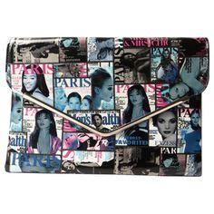 Olivia Miller Envelope Frame Magazine Printed Clutch