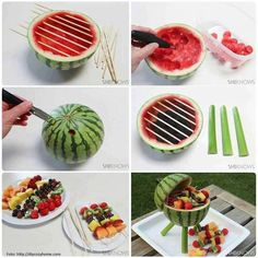 Watermelon Grill with Fruit Kabobs Make a watermelon centerpiece that's functional and edible. Add some fruit kabobs and you've got a BBQ grill that will thrill. Fruit Party, Snacks Für Party, Fun Fruit, Fruit Ideas, Food Ideas, Fresh Fruit, Picnic Snacks, Diy Snacks, Fruit Food