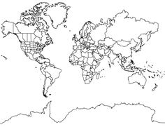 World map mercator projection no borders in north america for world map hd outline world map mercator projection with antarctica gumiabroncs Image collections