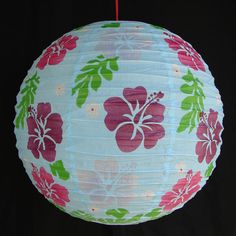 Feng Shui Import 2 of Light Blue Paper Lanterns with Flower Pictures - 3997
