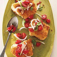 Panko-Crusted Cod with Tomato-Basil Relish | MyRecipes.com